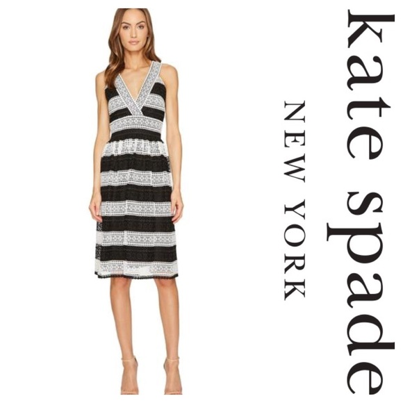 e54b299593e Kate Spade New York Colorblock Lace V-neck Dress 6